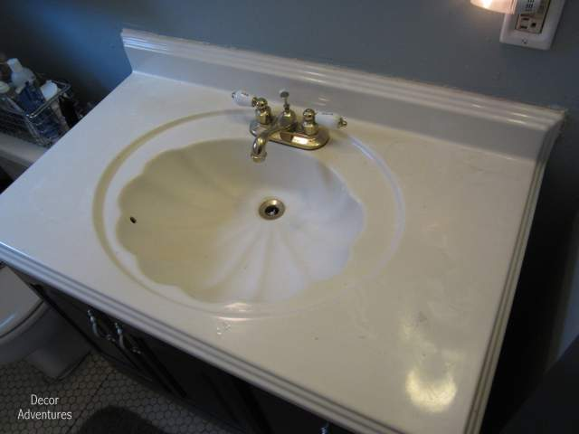 sink top for vanity. Gold Faucet Shell Sink How to Remove a Countertop From Vanity  Bathroom Misadventures