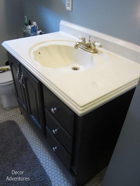 How To Remove A Countertop From A Vanity Decor Adventures - Painting bathroom vanity top