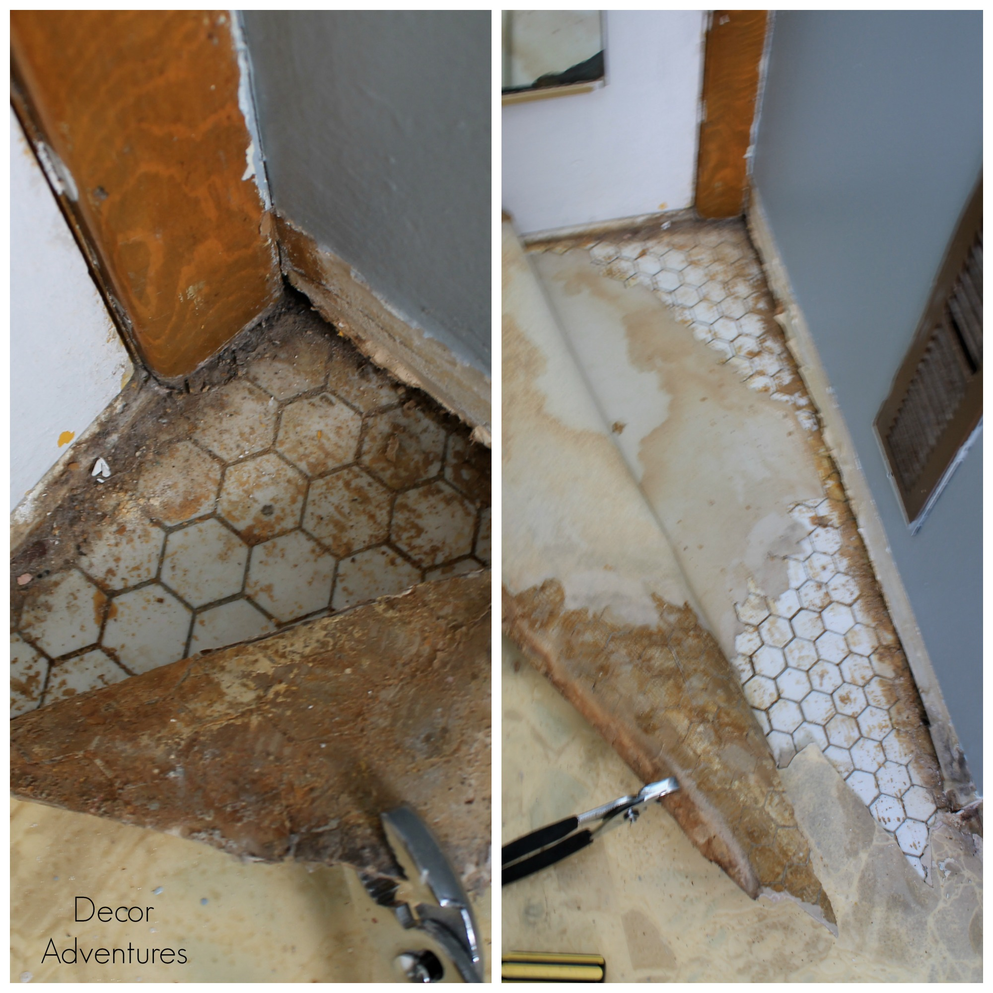 Uncovering a hex tile floor before after decor adventures hex tile floor dailygadgetfo Gallery