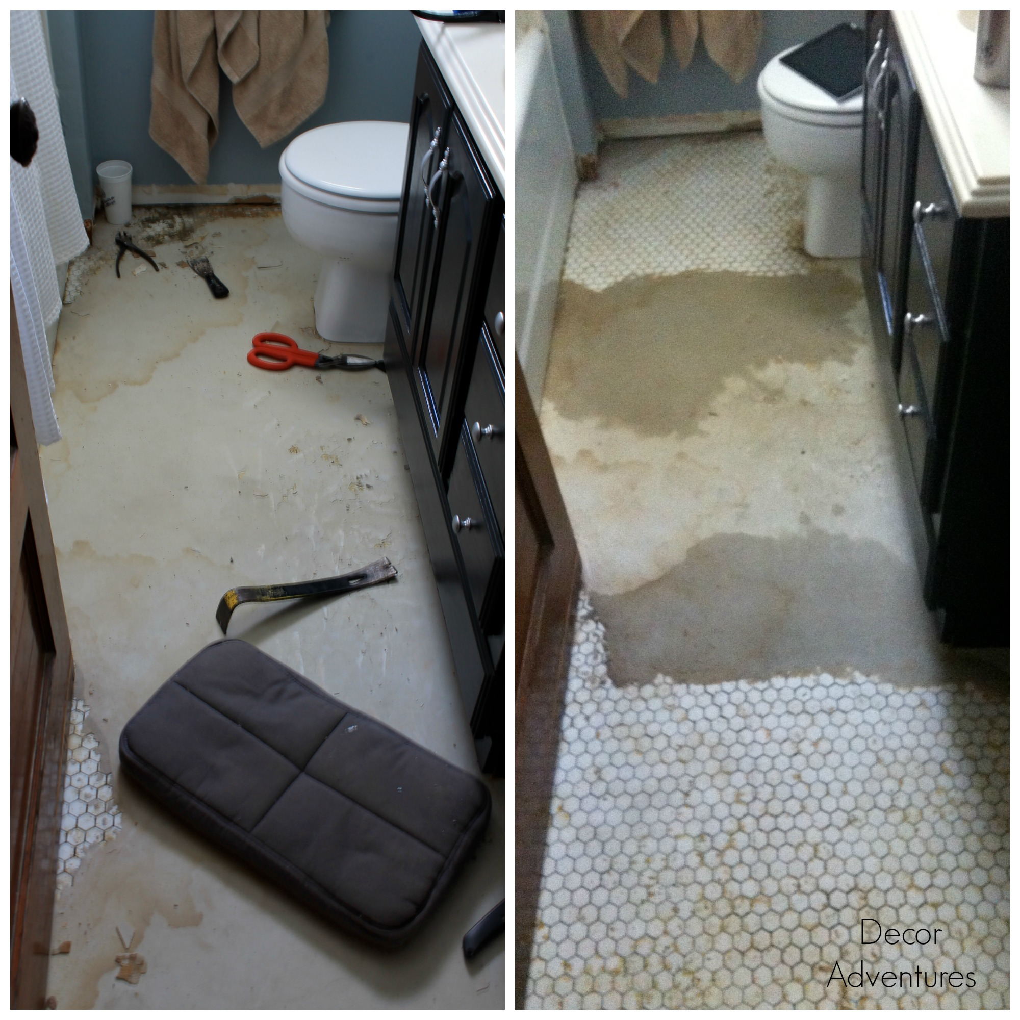Uncovering a hex tile floor before after decor adventures after hours of scraping over the course of several months i had this during on the left and today on the right pretty much anytime id wash the floor dailygadgetfo Gallery