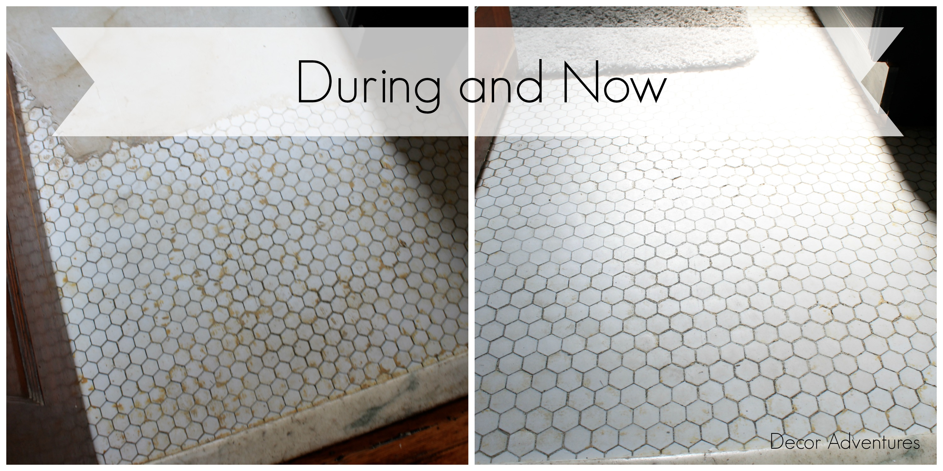 Uncovering a Hex Tile Floor Before + After » Decor Adventures on large hexagon tile, white bathroom hexagon tile, hexagon tile patterns, hexagon bathroom window, hexagon ceramic tile, hexagon bathroom tile design, white hexagon mosaic floor tile, hexagon flooring tile, hexagon wall tile, hexagon porcelain floor tile, black and white moroccan floor tile, wood kitchen floor tile, grey hexagon tile, hexagon kitchen backsplash tile, hexagon bathroom carpet, hexagon bathroom cabinets, hexagon tile vintage, hexagon bathroom flooring, natural stone slate floor tile, hexagon tile tile,