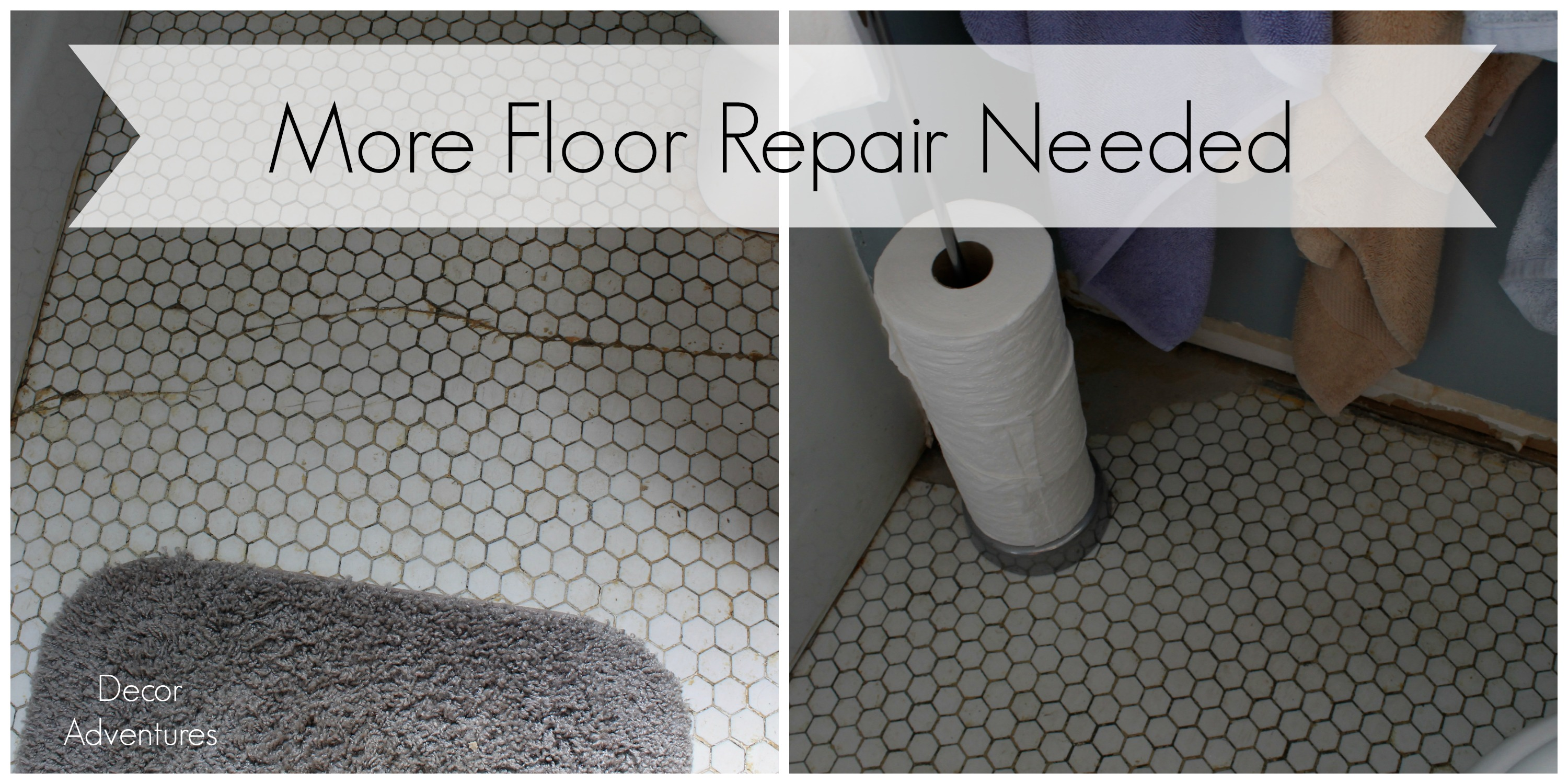 Uncovering A Hex Tile Floor Before After Decor Adventures - How to repair bathroom floor tile