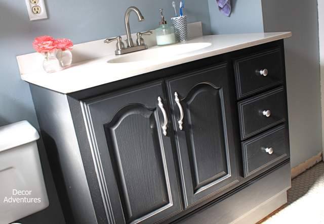 Excellent  Distressed Bathroom Vanity Started With Graphite Gray Chalk Paint