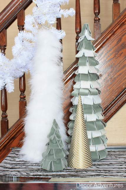 Make Winter Trees with Fur, Ribbon, Feathers and Washi Tape