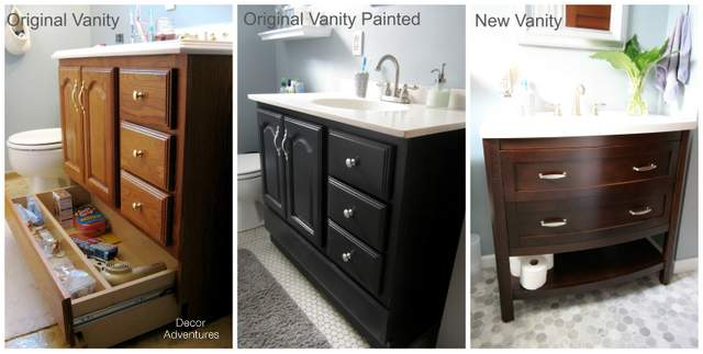 painting bathroom vanity sink small master bathroom makeover decor adventures - Painted Bathroom Cabinets Before And After