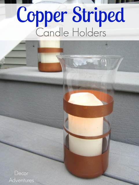 Copper Striped Candle Holders
