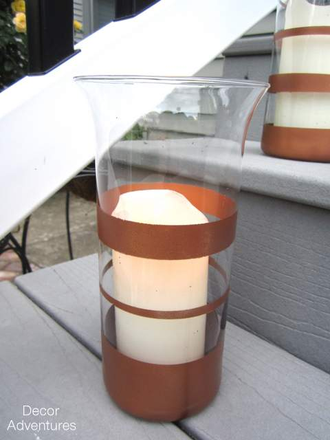 DIY Copper Striped Candle Holder