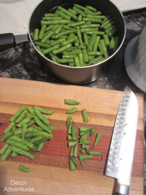 cooking green beans with salt 1 pound baby red potatoes, halved (quartered if large) 6 tablespoons olive oil, divided 2½ teapoons kosher salt, divided, plus more for cooking green beans.