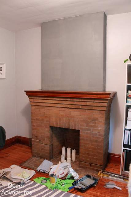 Old house modern fireplace makeover office update for Fireplace accent wall