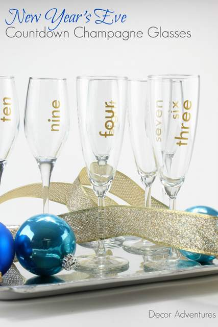 New Years Eve Countdown Champagne Glasses