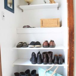 DIY Built In Shoe Shelves in a Small Entry