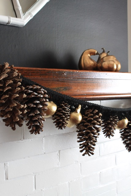 Fall Mantel in Black and White