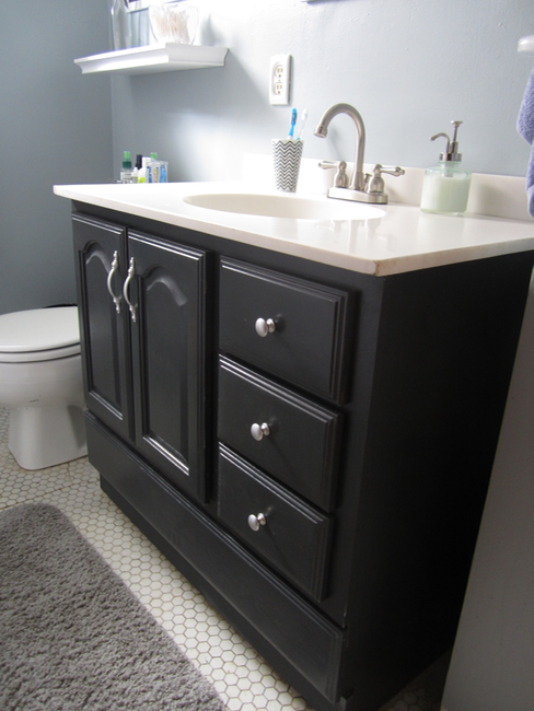 Painting Bathroom Cabinets Black bathroom vanity makeover with chalk paint » decor adventures