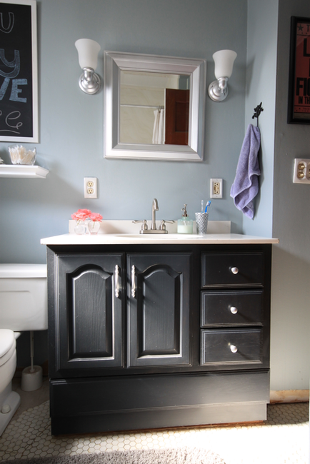 how to paint a bathroom cabinet black bathroom vanity makeover with chalk paint decor adventures