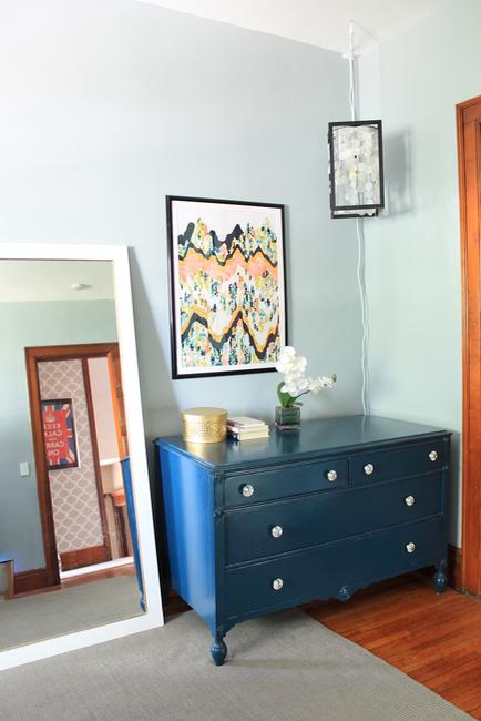 Blue Dresser in Master Bedroom