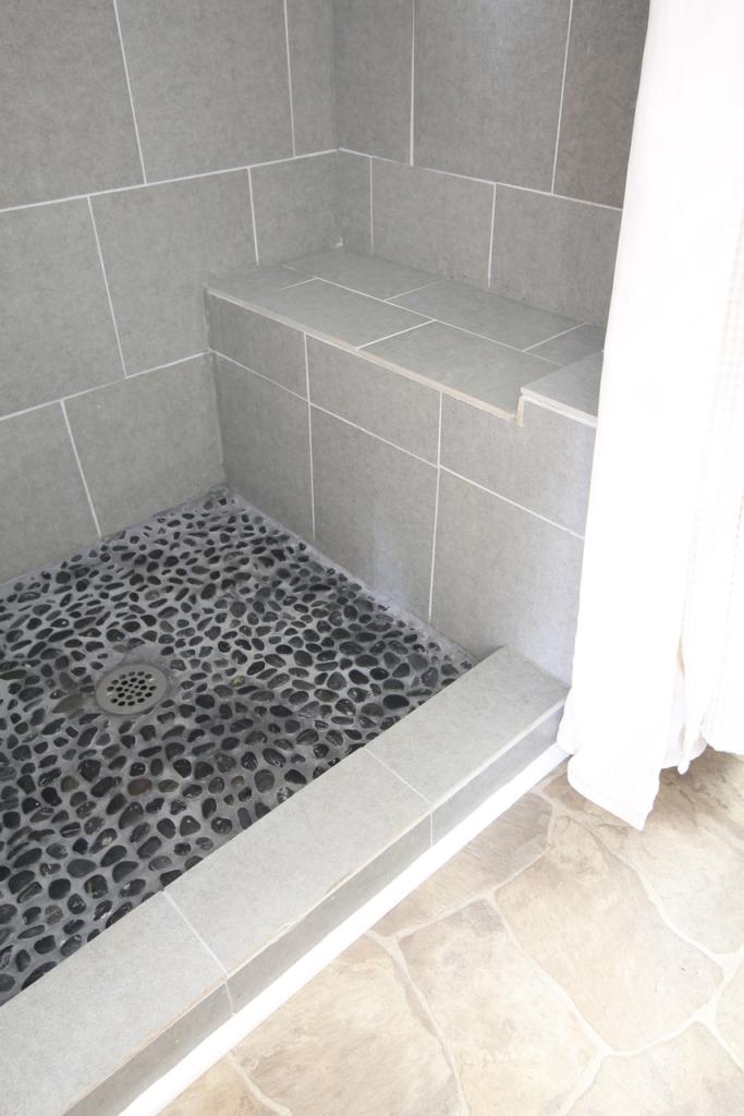 Shower Bench River Rock Floor