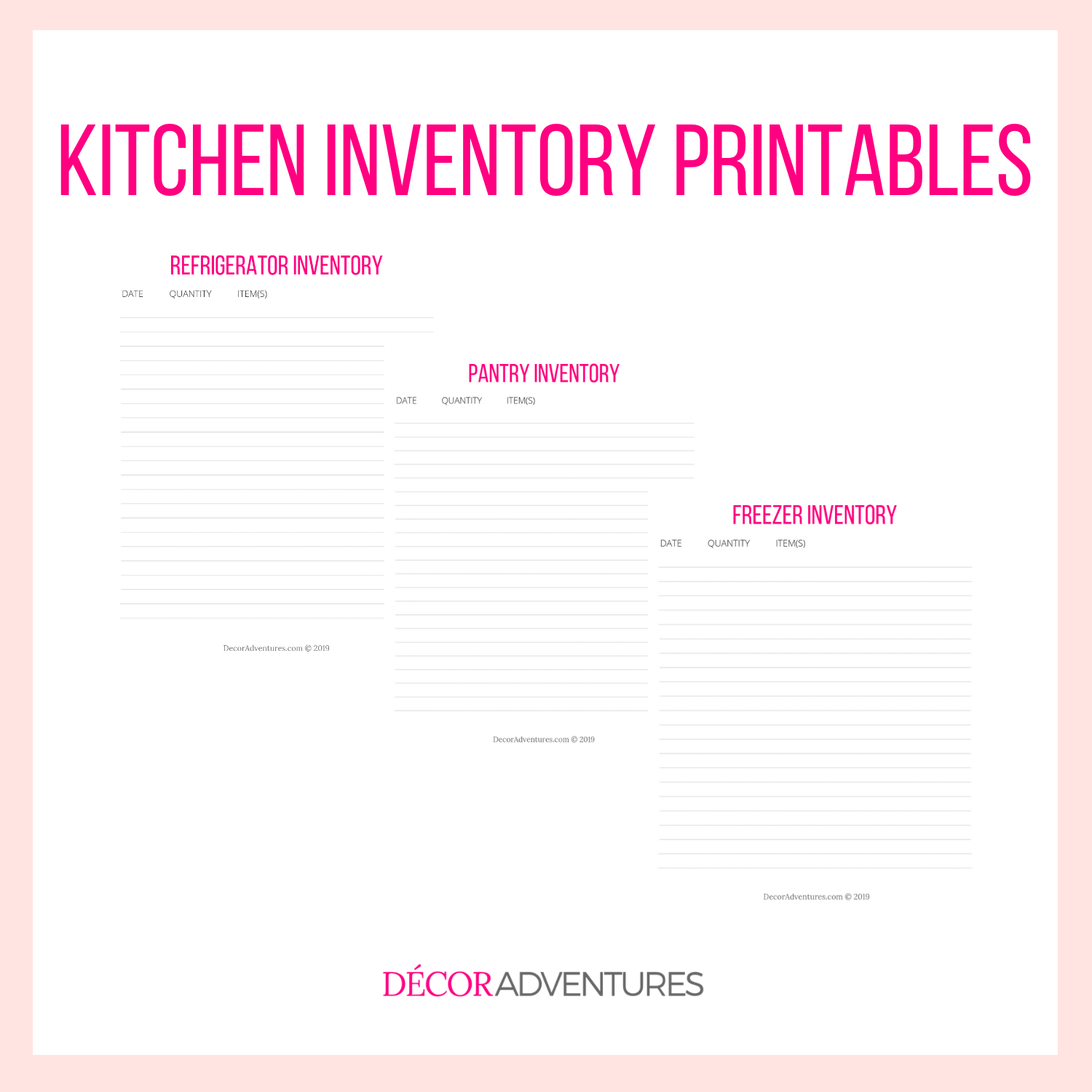 image relating to Pantry Inventory Printable known as Kitchen area Stock Printable PDF