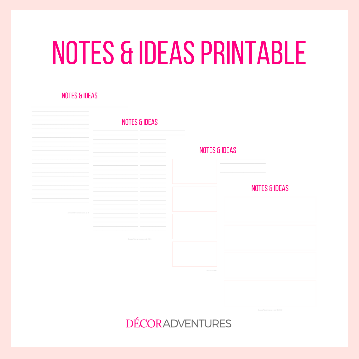 photo regarding Notes Printable titled Notes and Tips Printable PDF